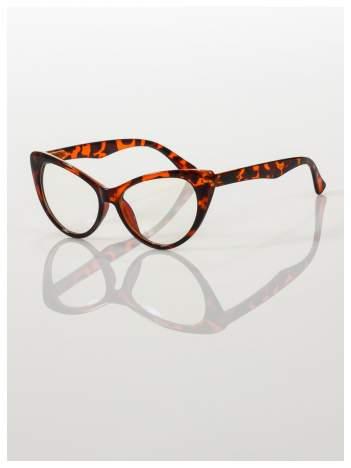 HIT 2016 Modne okulary zerówki typu KOCIE OCZY w stylu Marlin Monroe; soczewki ANTYREFLEKS+system FLEX na zausznikach