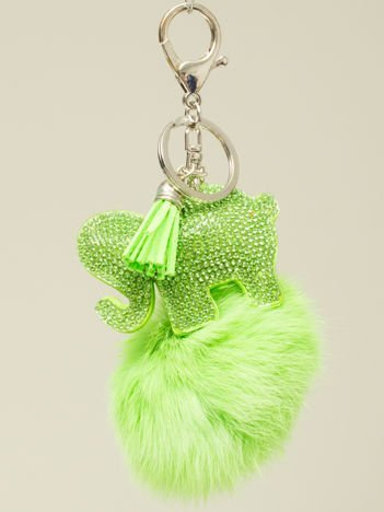 HIT! Puchaty zielony brelok do kluczy,zawieszka do torebki SŁONIK z cyrkoniami i chwostem