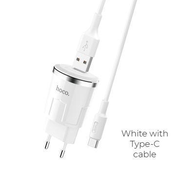 HOCO C37A Inteligentna ładowarka sieciowa USB 2.4A z zabezpieczeniem wielopunktowym oraz przewodem Type-C do urządzeń Android Kolor biały