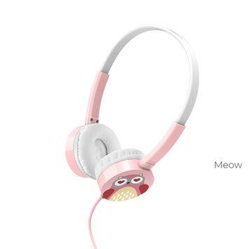 HOCO W15 Kolorowe słuchawki z mikrofonem i sterowaniem za pomocą jednego przycisku Miękkie nauszniki Membrana 36mm Jack 3,5mm Kolor biało-różowy