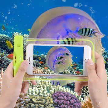 HOCO Wodoszczelne uniwersalne etui zabezpiecza smartfon aparat do głębokości 20m Kolor: fluorescencyjny zielony