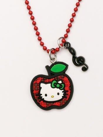 Hello Kitty Czerwony naszyjnik kulkowy z zawieszkami