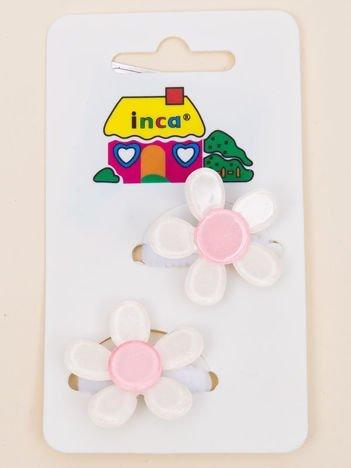 INCA Gumki do włosów białe z kolorowymi kwiatami z brokatem komplet 2 szt.