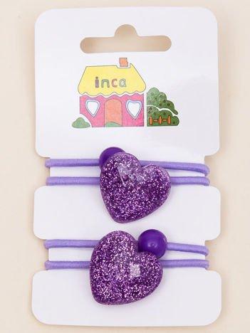 INCA Gumki do włosów liliowe z brokatowym serduszkiem komplet 2 szt.