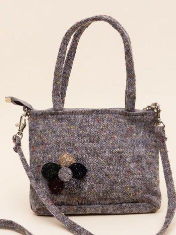 INCA Mała torebka dzianinowa w kolorze szarym melanż