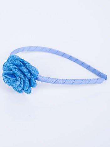 INCA Opaska do włosów niebieska z ozdobną różą