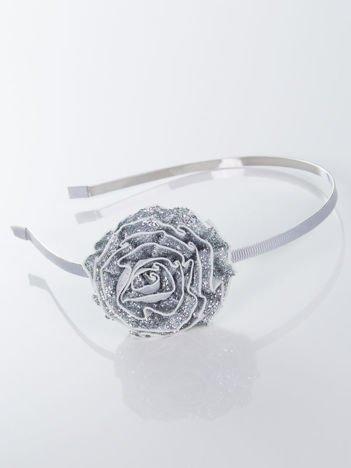 INCA Opaska do włosów srebrna z ozdobną dużą różą