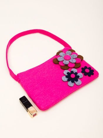 INCA Różowa torebka z dzianiny ozdobiona kwiatowym wzorem