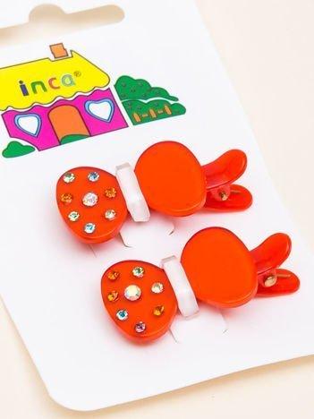 INCA Spinki do włosów jasnoczerwone kokardki z cyrkoniami komplet 2 szt.