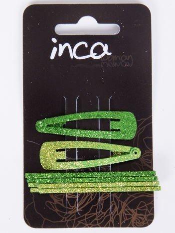 INCA Spinki do włosów z brokatem wsuwki + pyki komplet 6 szt.