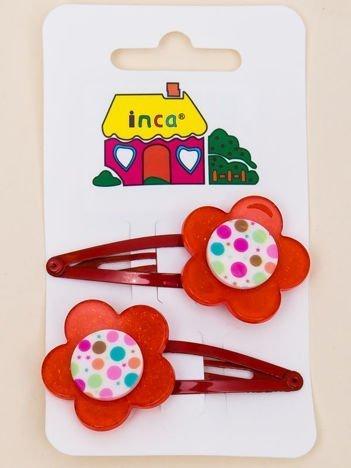 INCA Spinki do włosów z kwiatem czerwone komplet 2 szt.