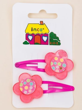 INCA Spinki do włosów z kwiatem różowe komplet 2 szt.