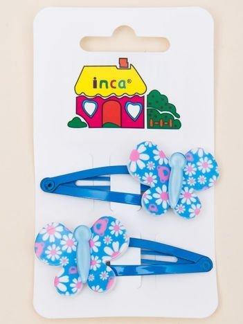 INCA Spinki do włosów z motylem niebieskie komplet 2 szt.