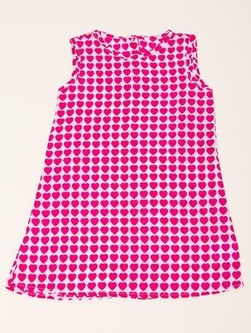 INCA Sukienka dziewczęca biała w różowe Serca