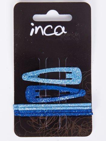 INCA Zestaw 6 szt. Spinki + gumki w odcieniach koloru niebieskiego z brokatem