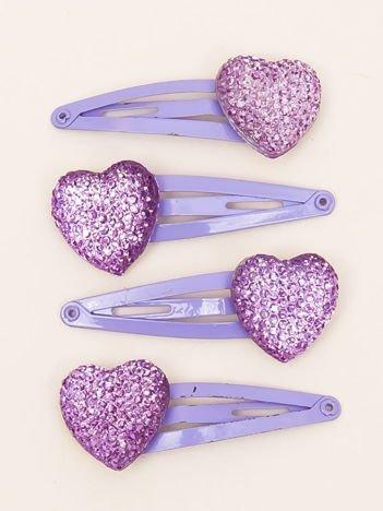INCA Zestaw spinek do włosów 4 cm z błyszczącymi serduszkami 4 szt.