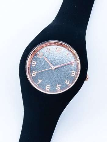JELLY czarny zegarek damski z tarczą glitter ombre