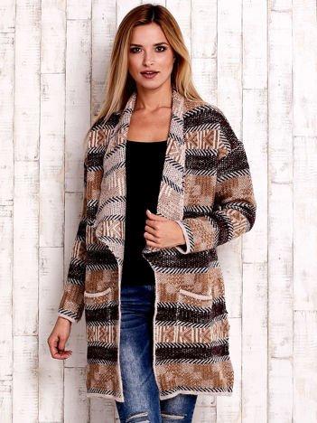JUST LOU Otwarty sweter w paski beżowo-bordowy