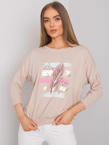 Jasnobeżowa bluzka z printem Shelby