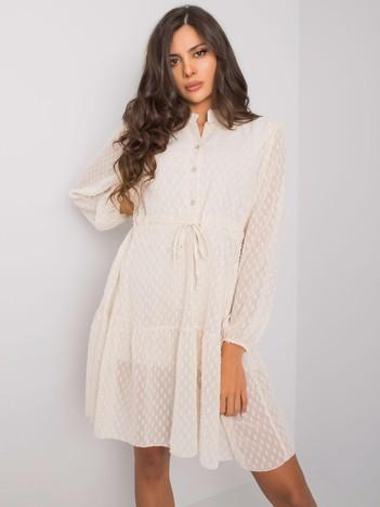 Jasnobeżowa sukienka z długim rękawem Kyra OCH BELLA