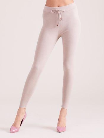 Jasnobeżowe sztruksowe legginsy z wysokim stanem