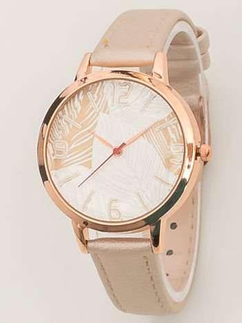 Jasnobeżowy perłowy zegarek damski