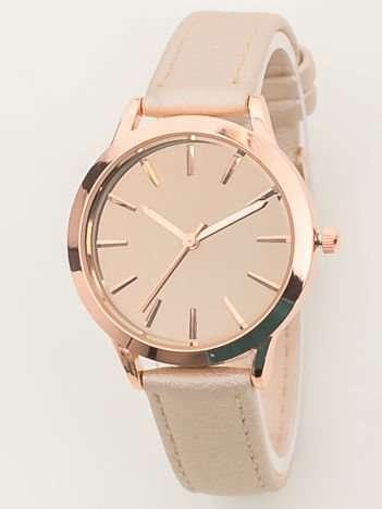 Jasnobeżowy perłowy zegarek damski z lustrzaną tarczą