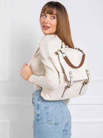 Jasnobeżowy plecak z klapą
