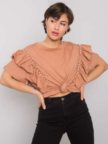 Jasnobrązowa bluzka z aplikacją Miabella