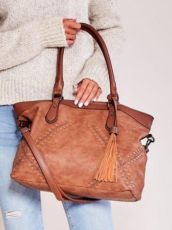 Jasnobrązowa miękka torba z chwostem