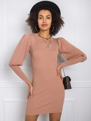 Jasnobrązowa sukienka Aleanor