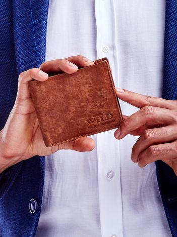 Jasnobrązowy miękki portfel męski ze skóry naturalnej