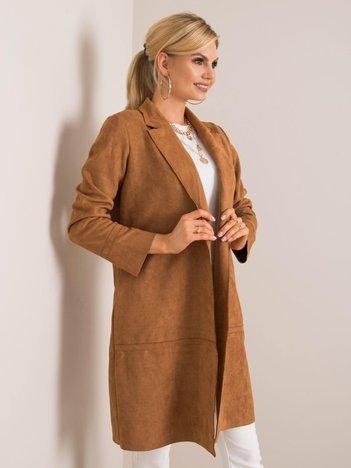 Jasnobrązowy płaszcz zamszowy Sellina STITCH & SOUL