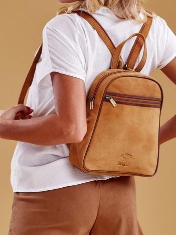Jasnobrązowy skórzany plecak