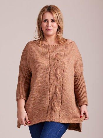 Jasnobrązowy sweter MAGPIE z szerokimi ściągaczami