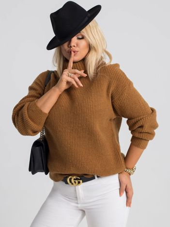 Jasnobrązowy sweter plus size Hannah
