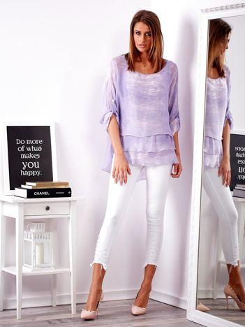 Jasnofioletowa bluzka z falbanami