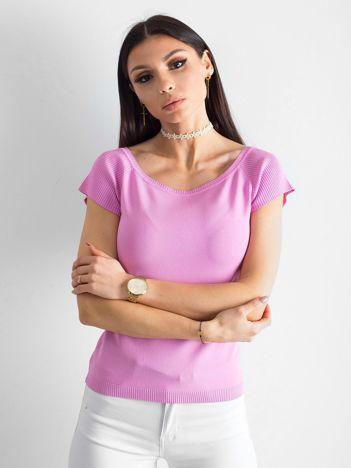 Jasnofioletowa bluzka z rękawem w prążek