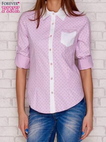 Jasnofioletowa koszula w pionowe paski i drobny wzór