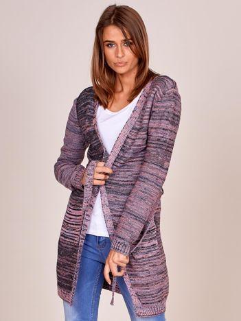 Jasnofioletowy melanżowy sweter z wiązaniem