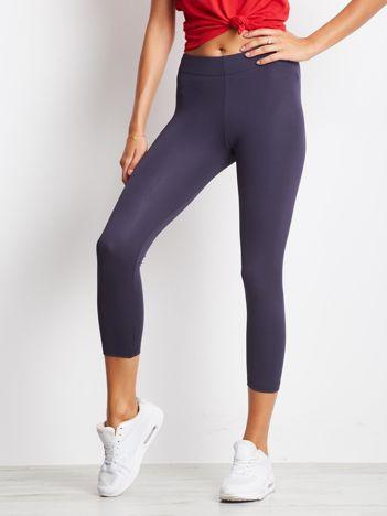 Jasnogranatowe legginsy na siłownię 3/4 o średniej grubości