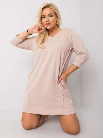 Jasnokawowa bawełniana sukienka plus size Karissa