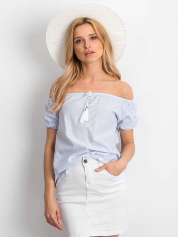 Jasnoniebieska bluzka hiszpanka w paski