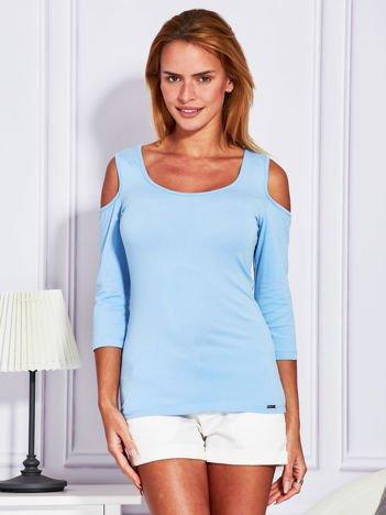 Jasnoniebieska bluzka off shoulder z koronką