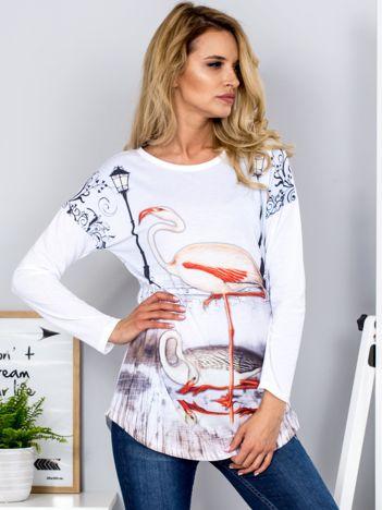 Jasnoniebieska bluzka z flamingami