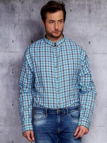 Jasnoniebieska koszula męska w kratkę PLUS SIZE