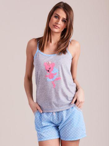 Jasnoniebieska piżama do spania z nadrukiem
