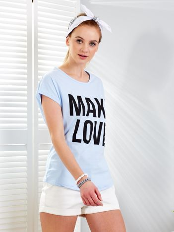 Jasnoniebieski t-shirt MAKE LOVE