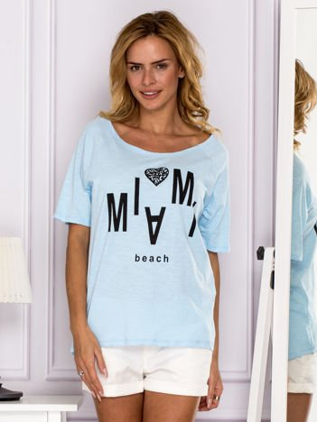 Jasnoniebieski t-shirt MIAMI BEACH