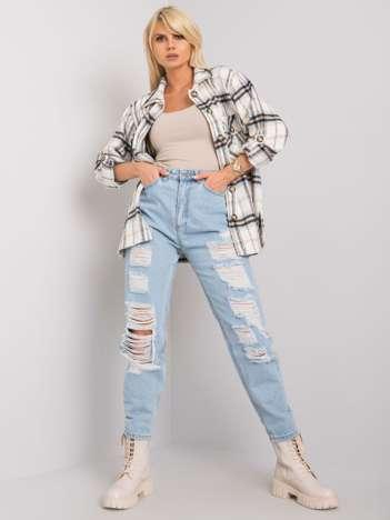 Jasnoniebieskie jeansy mom fit z dziurami Penny RUE PARIS